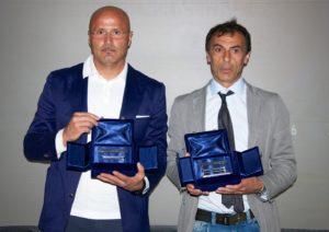 """Le Panchine d'Argento """"Franco Mandelli - Aiac Bergamo"""" 2013: Stefano Colantuono (Atalanta) e Salvatore Di Costanzo (Brusaporto)."""